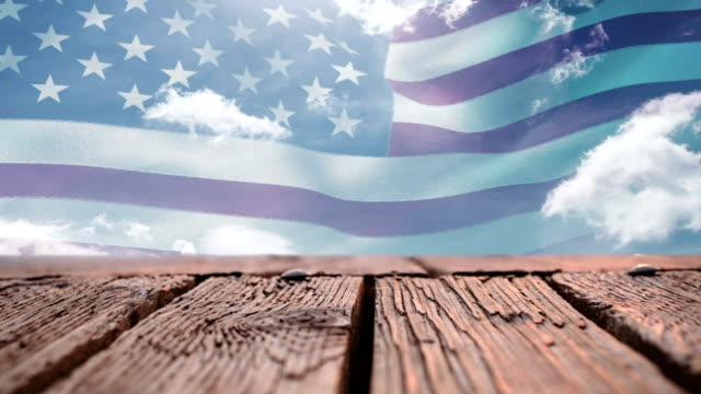 Wooden deck and American flag