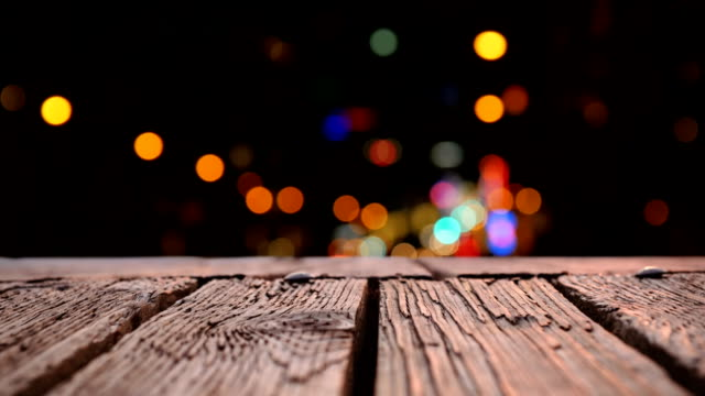 Wooden deck and bokeh
