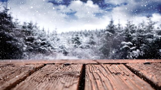 木製デッキと雪の木 - デッキ点の映像素材/bロール