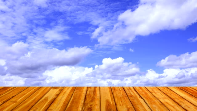 wooden floor with moving cloud, time lapse video