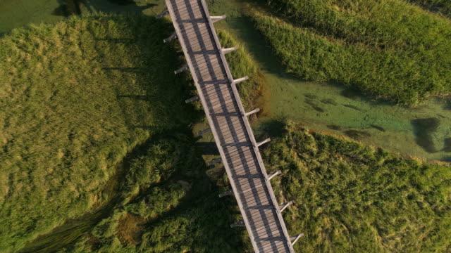 Wooden footbridge in Kranjska Gora, Slovenia - Aerial