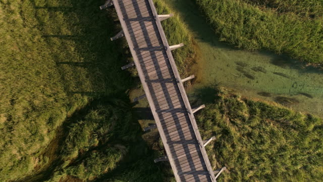 Wooden footbridge in Kranjska Gora, Slovenia - Drone