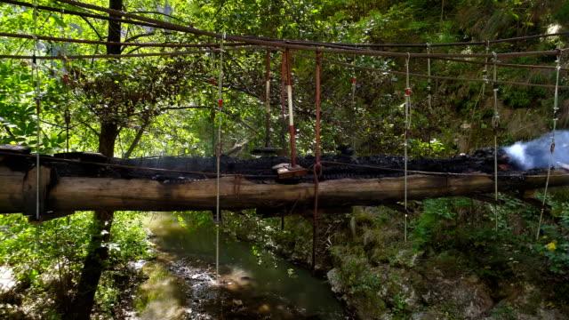 Wooden Footbridge on Smoldering Fire video