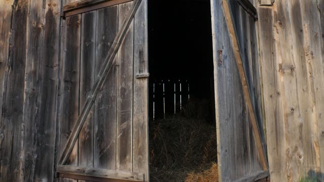 Wooden gates open. Hayloft