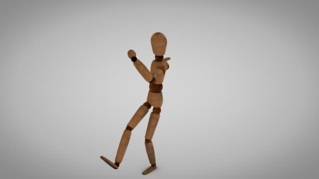 Wooden Human Mannequin dancing in loop Loop animation of a  wooden Human Mannequin marionette stock videos & royalty-free footage