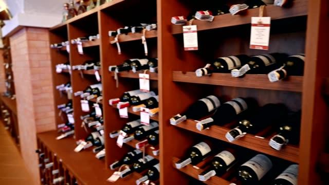 Wooden interior of Wide bottles in storage room