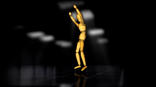 Wooden mannequin dance of joy,alpha channel video