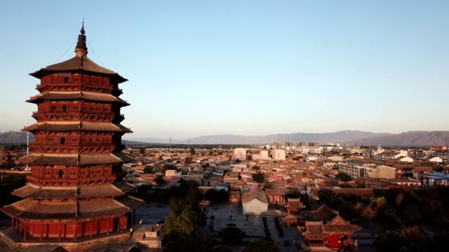 Wooden Pagoda of Yingxian, Shanxi province, China. - video