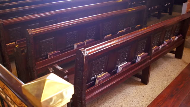 Wooden Pews in a Christian Church video