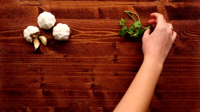 Wooden table for cooking video