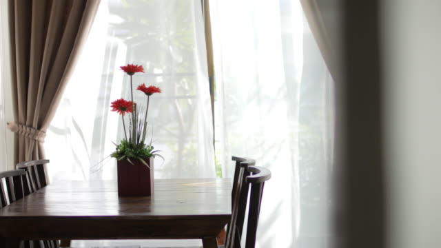 vídeos de stock e filmes b-roll de wooden table in the morning with blur curtain window and green garden , dolly shot right to left - living room background