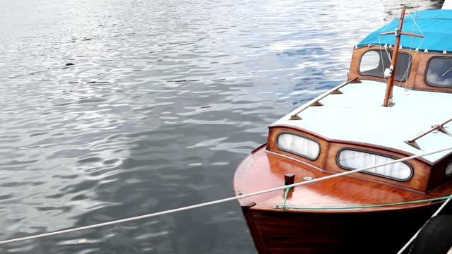 Wooden vintage boat at the harbor of Bergen