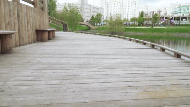 wooden walkway with railing - lakeshore stock videos & royalty-free footage