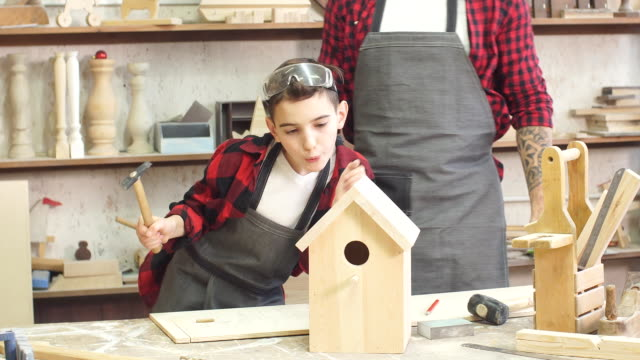 Woodwork classes for children and creativity concept