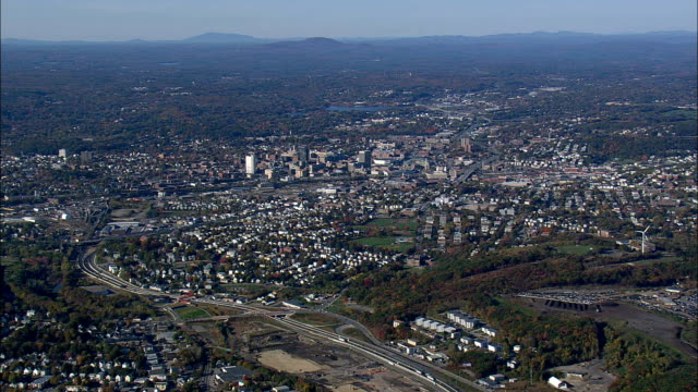 Worcester  - Aerial View - Massachusetts,  Worcester County,  United States video