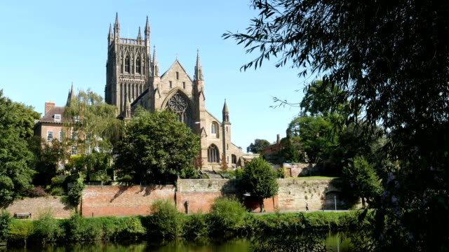 Worcester Cathedral by the River Severn in the English Midlands. video
