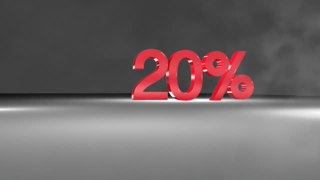 20% 3D word animation in FullHD. video