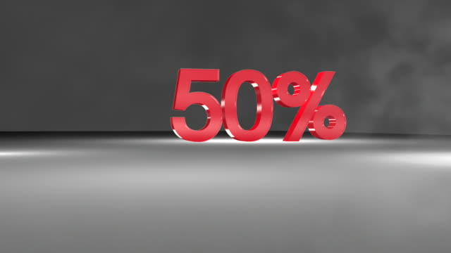 50% 3D word animation in FullHD. video