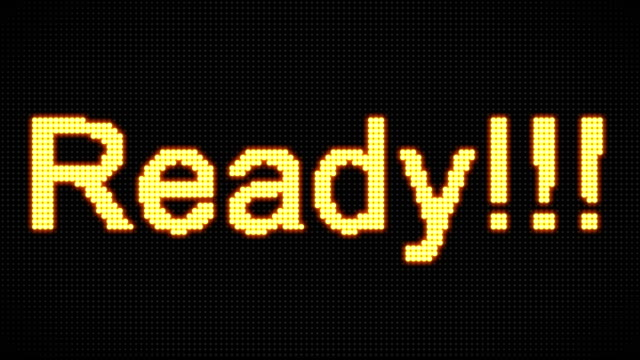 4K Word are you ready on the LED board. Vintage style. Motion graphic and animation background. video