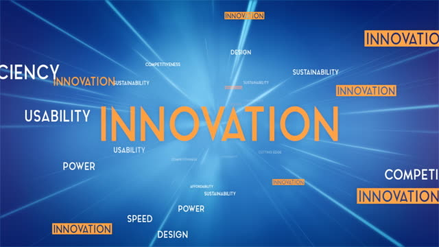 innovation word cloud flying towards camera (blue) - loop - parola video stock e b–roll