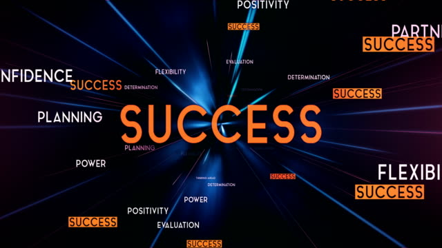 SUCCESS Word Cloud Flying Towards Camera (Black) - Loop
