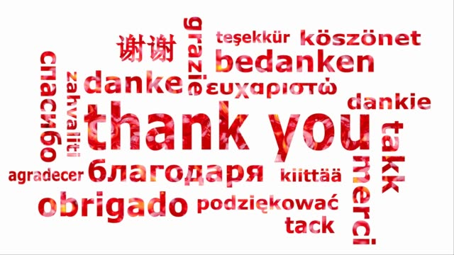 Word cloud with the words thank you in different languages