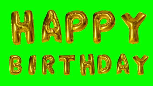Word Happy Birthday from helium golden balloon letters floating on green screen Word Happy Birthday from helium golden balloon letters floating on green screen happy birthday stock videos & royalty-free footage