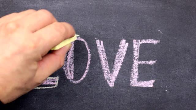 Word love, written with chalk on blackboard.
