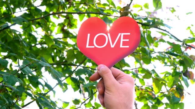 LOVE word on Heart Shape