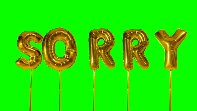 word sorry from helium golden balloon letters floating on green screen - wine filmów i materiałów b-roll