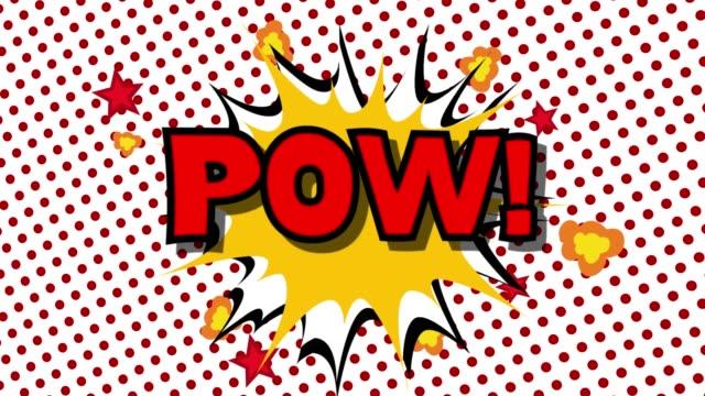 pow - ordet tal ballonger komiska stil animation - superhjälte isolated bildbanksvideor och videomaterial från bakom kulisserna