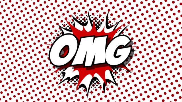 omg - ordet tal ballonger komiska stil animation - superhjälte isolated bildbanksvideor och videomaterial från bakom kulisserna