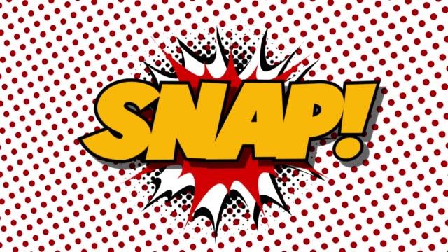 snapin - ordet tal ballonger komiska stil animation - superhjälte isolated bildbanksvideor och videomaterial från bakom kulisserna