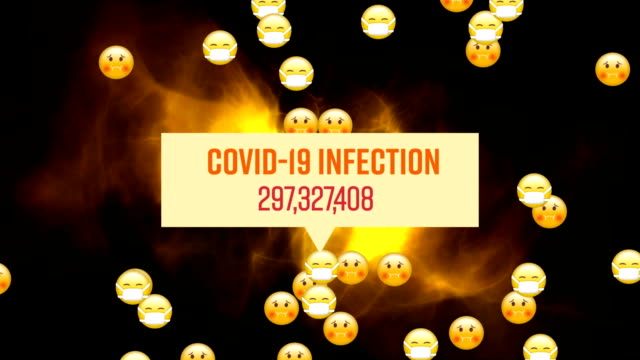 Words Covid-19 Infection with numbers growing written over a group of emojis flying on black backgro