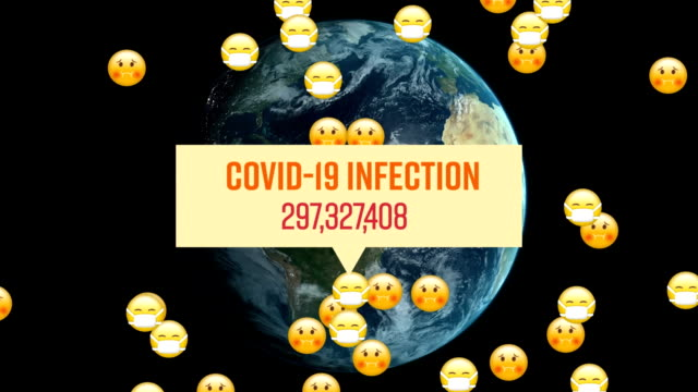 Words Covid-19 Infection written over a group of emojis flying and globe spinning in the background.
