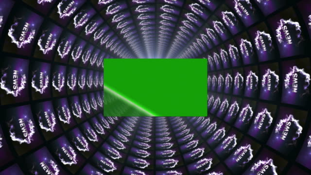 stockvideo's en b-roll-footage met nieuws woorden in monitoren tunnel, met groen scherm, 4k - magazine mockup