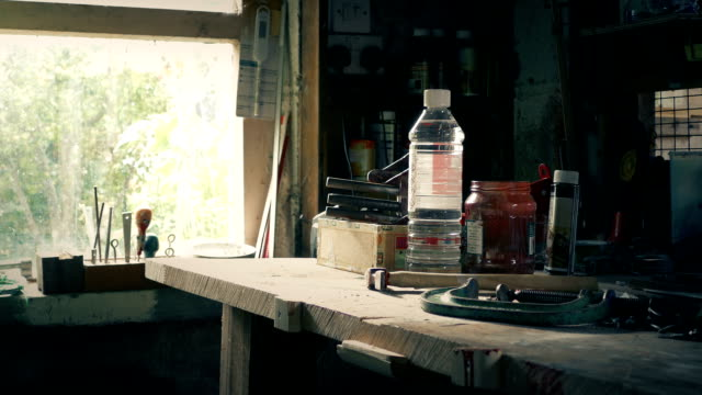 Work Bench With Tools Moving Shot