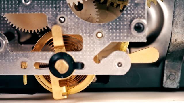 Work of clock mechanisms shot close-up video