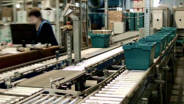 Work on the conveyor warehouse pharmacy video