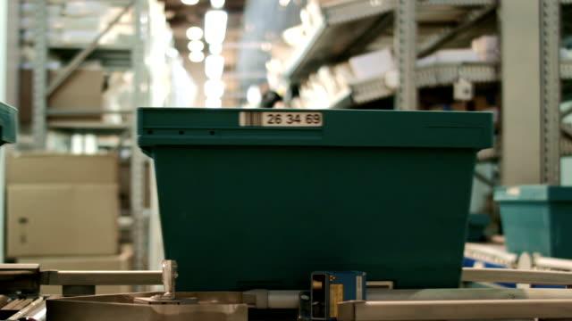 Work on the conveyor warehouse pharmacy, wide angle video