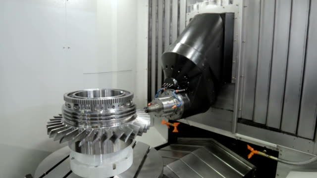 Work space of modern CNC milling machine video