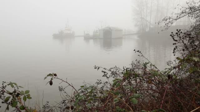 Workboats at Dock, Fraser River Fog video