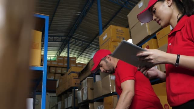 Worker checking stock for shipping