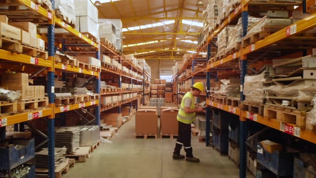 Worker in Warehouse video