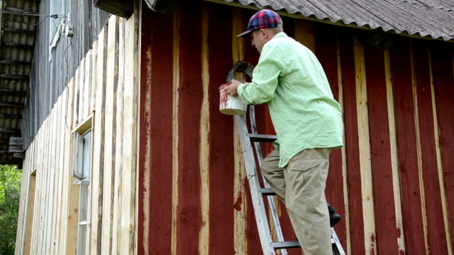 stockvideo's en b-roll-footage met worker ladder paint wall - ladder
