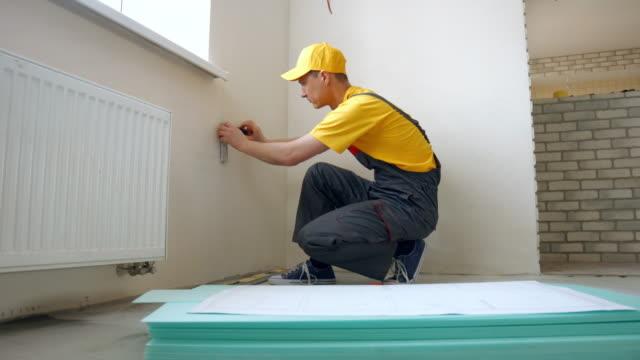 Worker making renovation. video