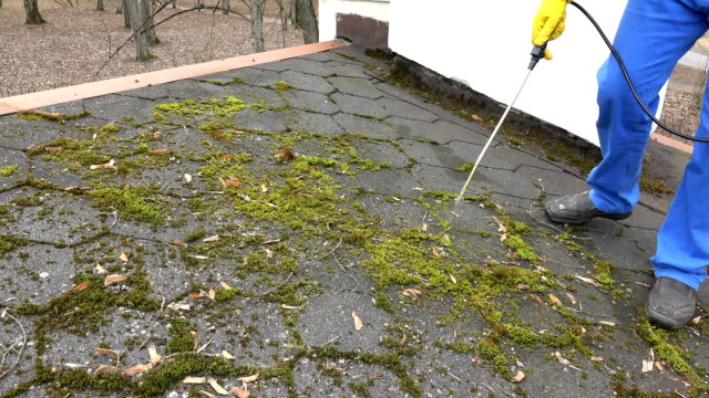 vidéos et rushes de mousse de pulvérisation d'homme de travailleur avec des produits chimiques sur le carrelage de toit - herbicide