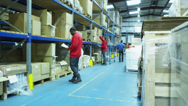 Worker moving consignment in a warehouse video