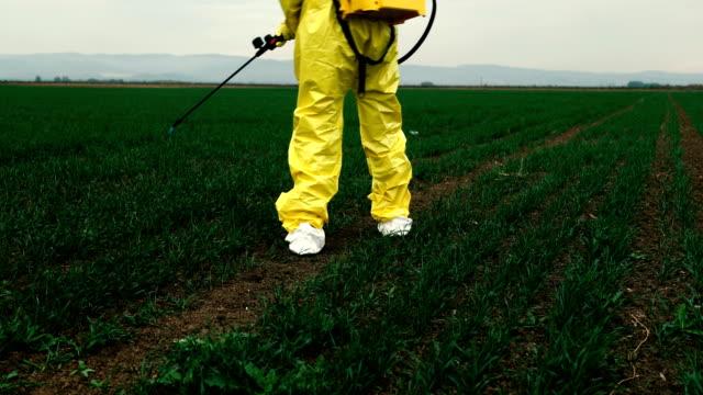 vidéos et rushes de travailleur pulvérisant des pesticides toxiques - herbicide
