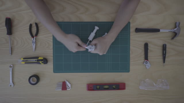 Worker toolbox and tools overhead angle video